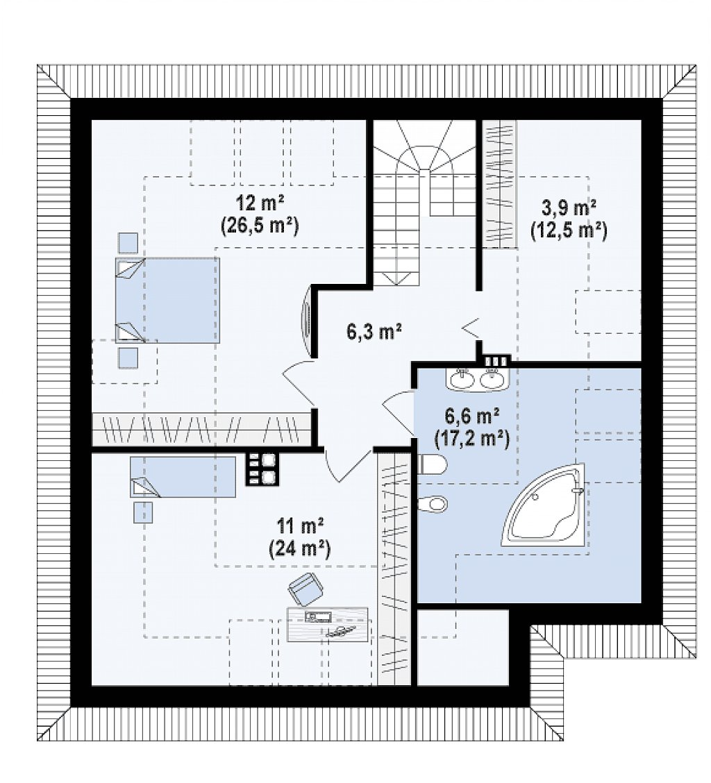 Версия проекта Z64 с жилой мансардой. план помещений 2