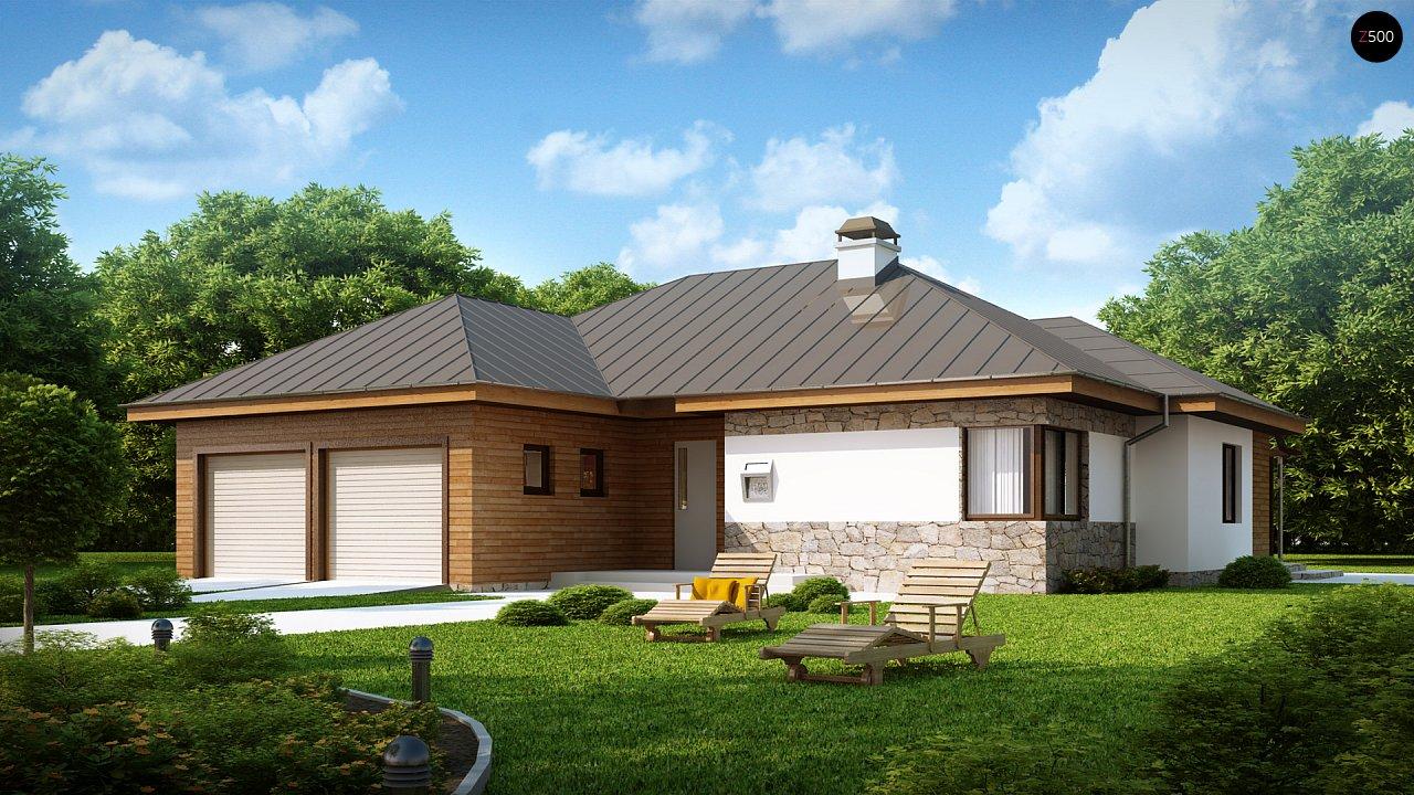 Стильный одноэтажный дом с гаражом для двух автомобилей. 1