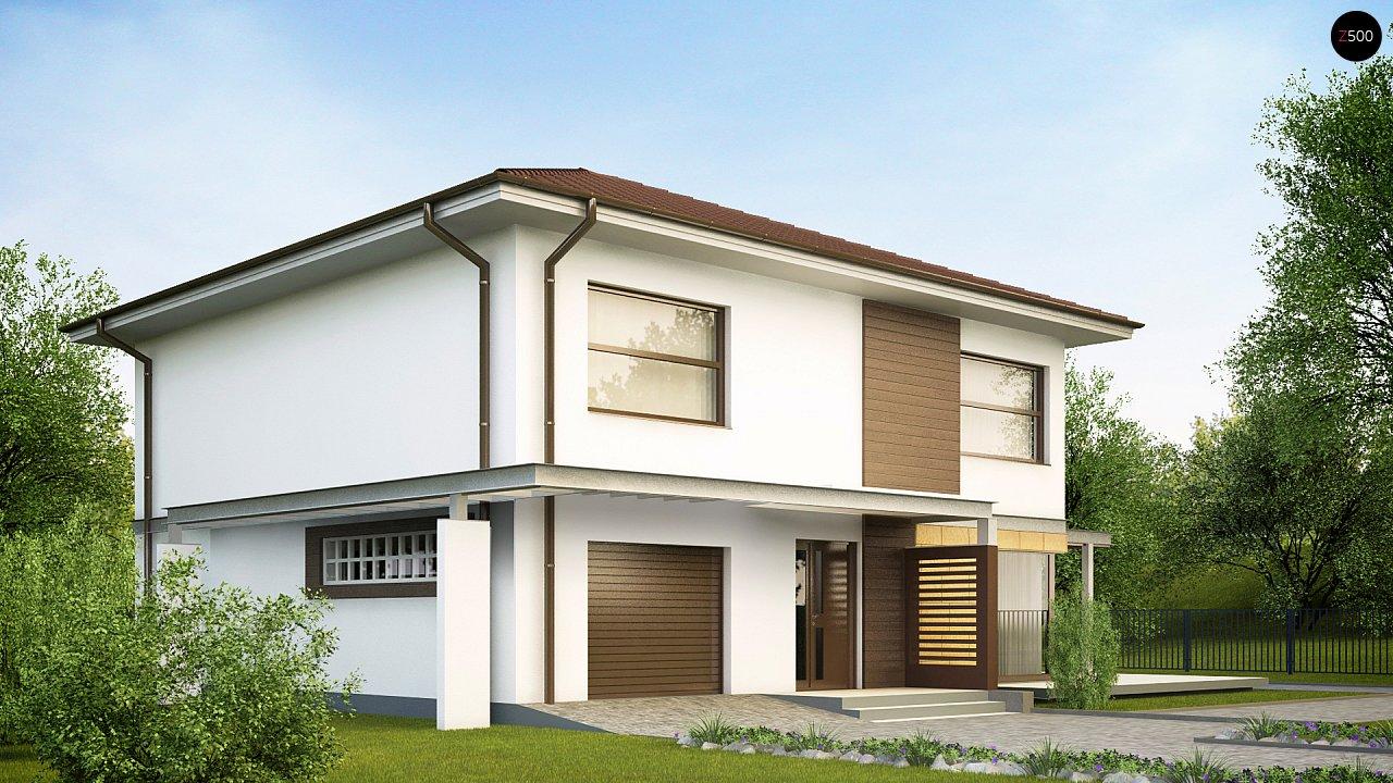 Двухэтажный дом простой формы со вторым светом над гостиной и встроенным гаражом. - фото 2