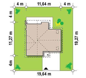 Проект удобного функционального дома с мансардой и гаражом  план помещений 1