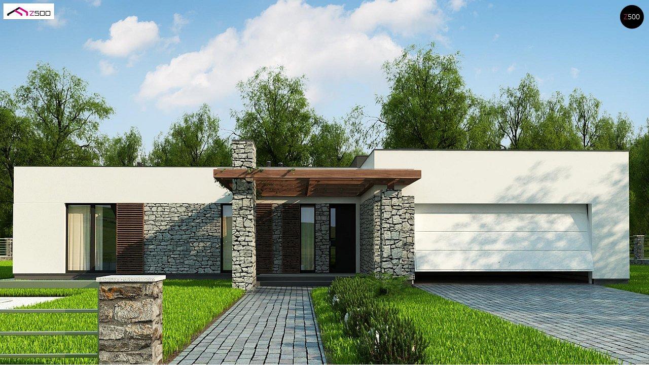 Современный одноэтажный дом с двойным гаражом и плоской крышей 2