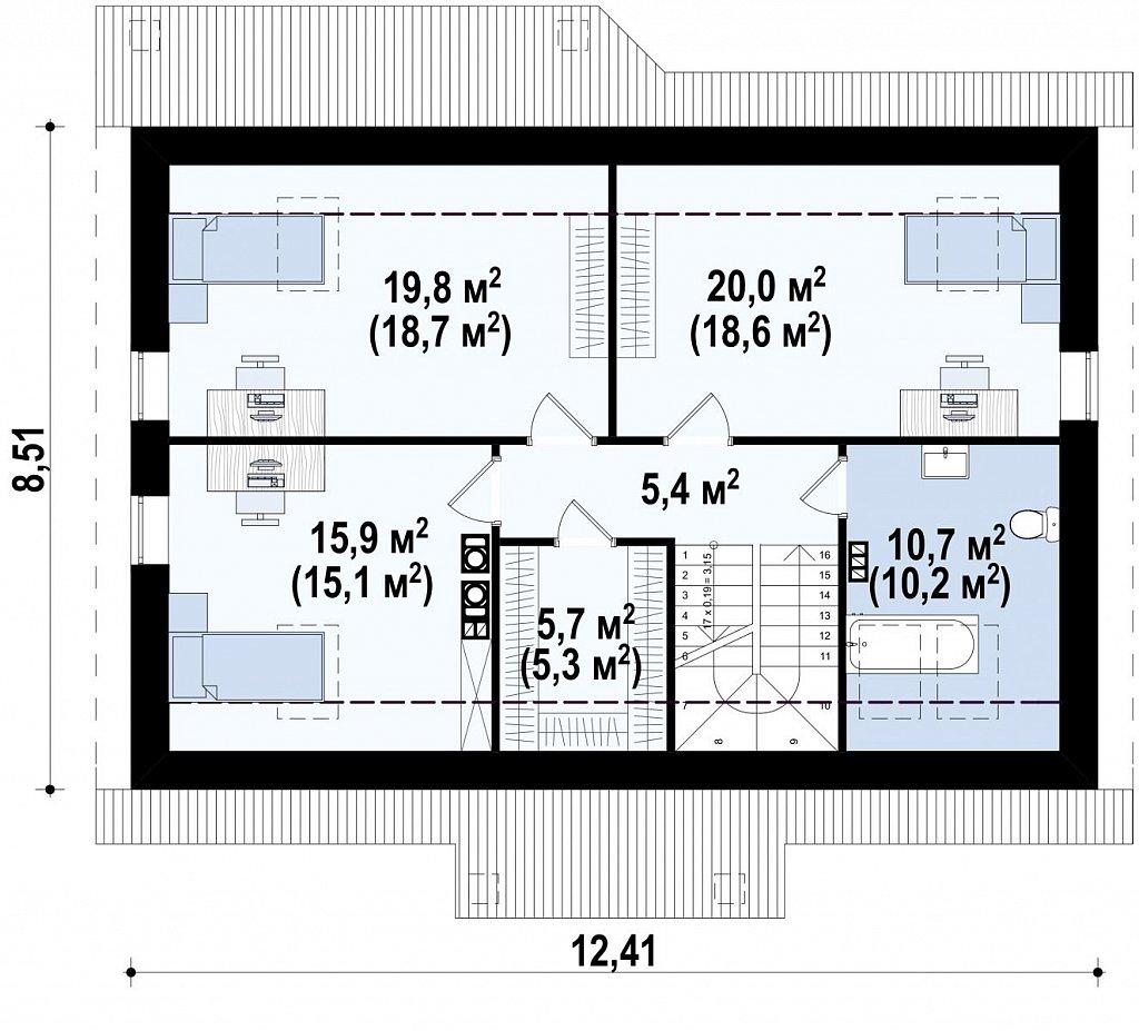 Версия проекта Z7 с мансардным этажом, угол наклона кровли 35 градусов. план помещений 2