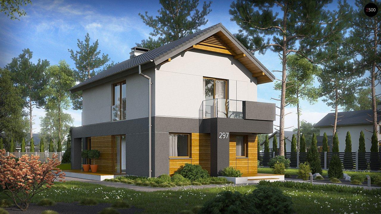 Небольшой двухэтажный дом с современными архитектурными элементами, подходящий для узкого участка. - фото 3
