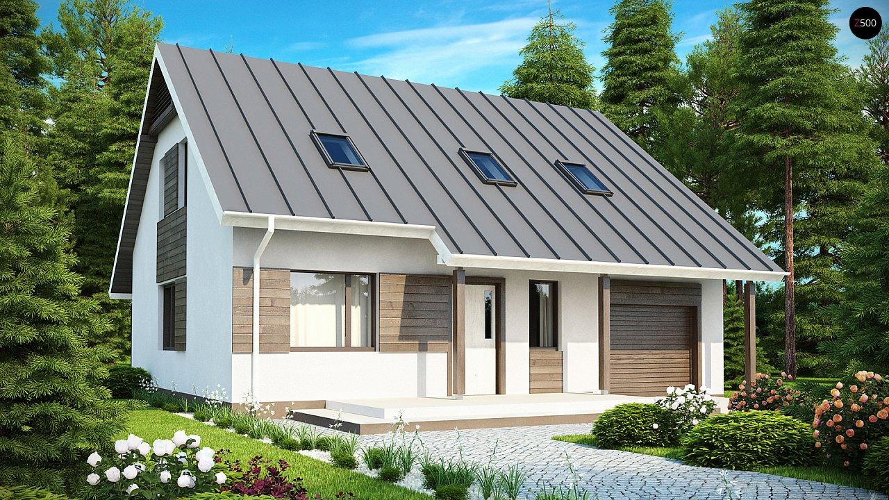 Практичный аккуратный дом с мансардой, со встроенным гаражом для одной машины. - фото 1