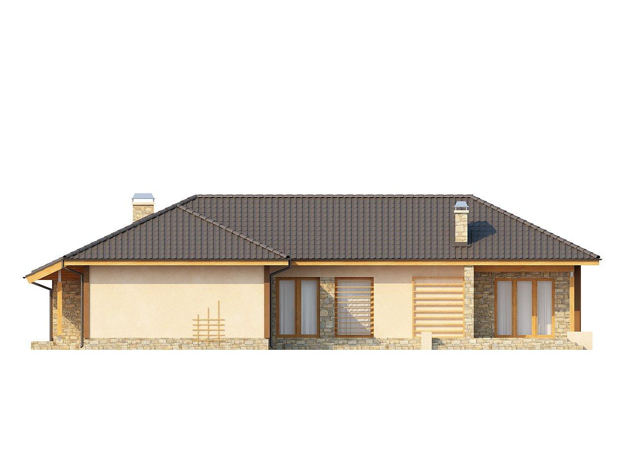 Проект одноэтажного дома с выступающим фронтальным гаражом. - фото 4