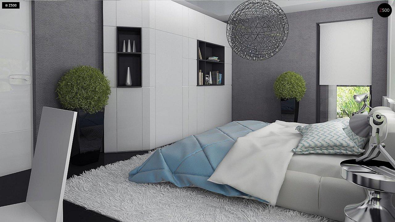Современный двухэтажный дом с гаражом и террасой, спальней на первом этаже и ванной комнатой 18