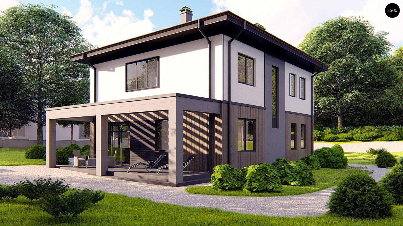 Проект двухэтажного просторного дома с панорамными окнами и камином. 3