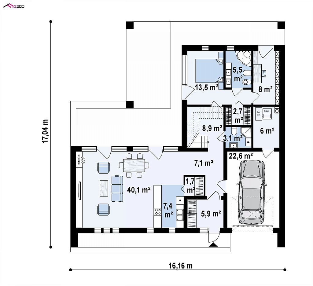 Современный дом с большой террасой и балконом на первом этаже и просторной гостиной план помещений 1