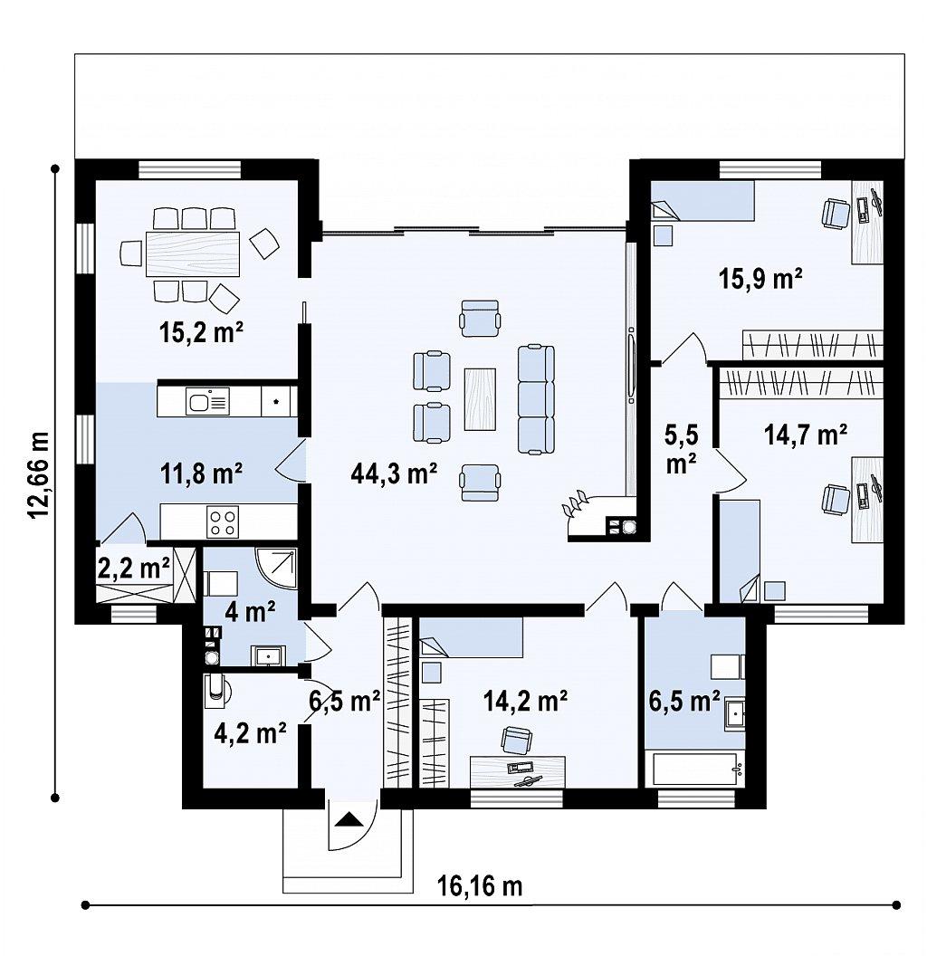 Одноэтажный дом в стиле современного минимализма план помещений 1