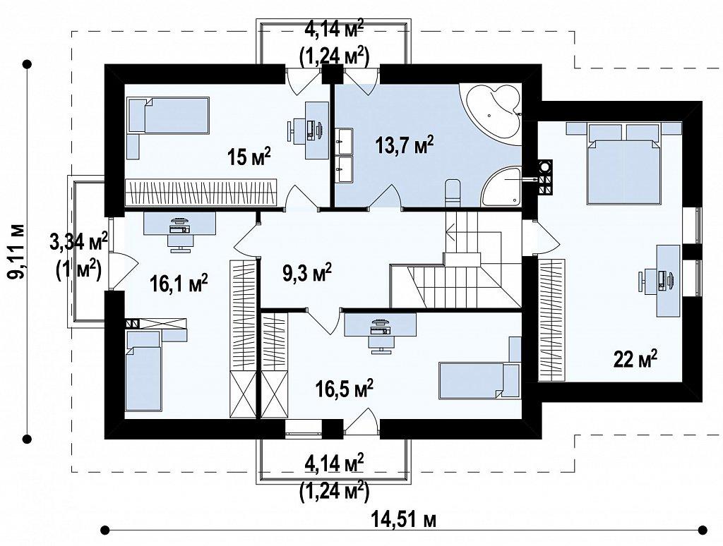 Стильный современный дом с пятью спальнями и гаражом. план помещений 2