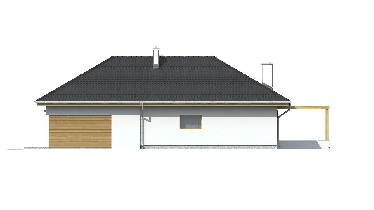 Проект комфортного одноэтажного дома с фронтальным гаражом для двух машин. 9