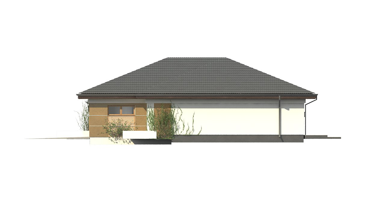 Проект одноэтажного дома с многоскатной крышей и гаражом на одну машину. - фото 8