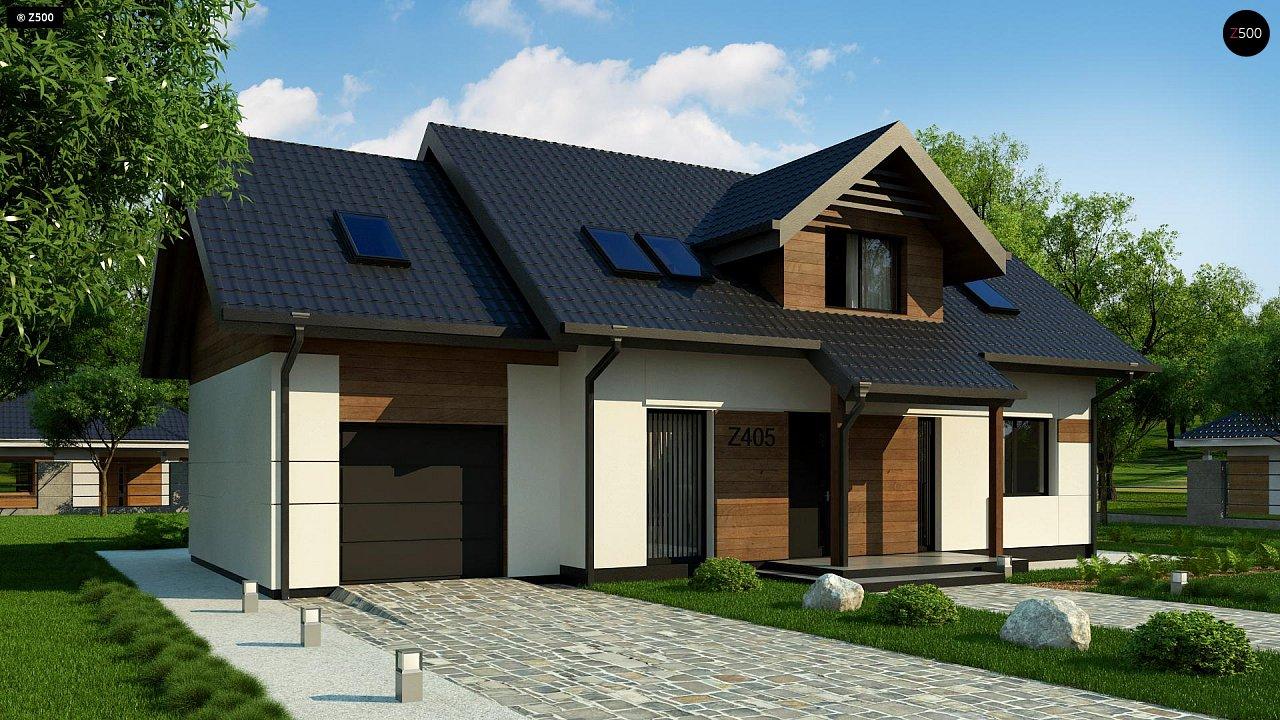 Красивый дом в традиционном стиле архитектуры, с комнатой на пером этаже и гаражом. - фото 2