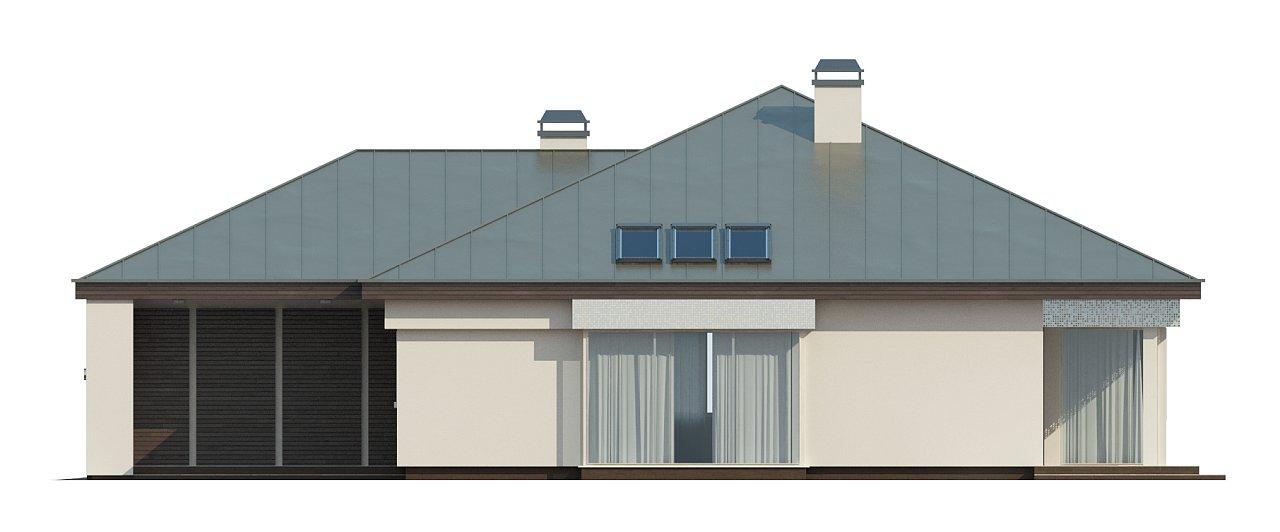 Удобный одноэтажный дом с гаражом для двух автомобилей, с большой площадью остекления в дневной зоне. 31
