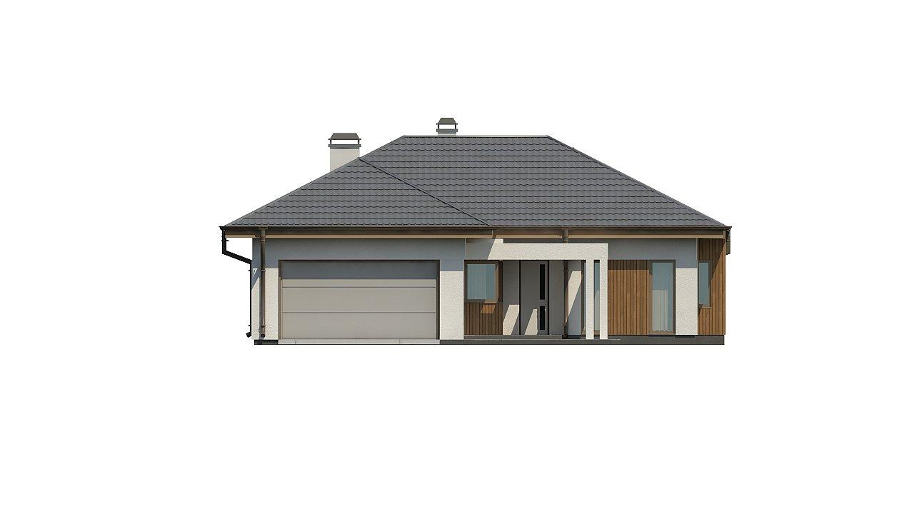 Одноэтажный дом с многоскатной крышей, с удобным функциональным интерьером. 10