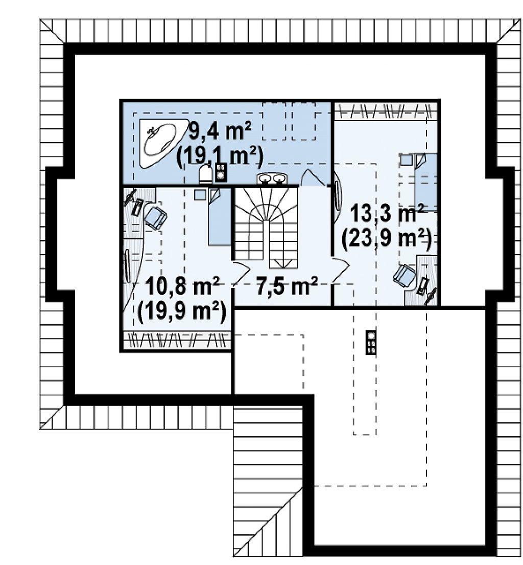 Комфортный элегантный дом с тремя спальнями и выступающим фронтальным гаражом. план помещений 2