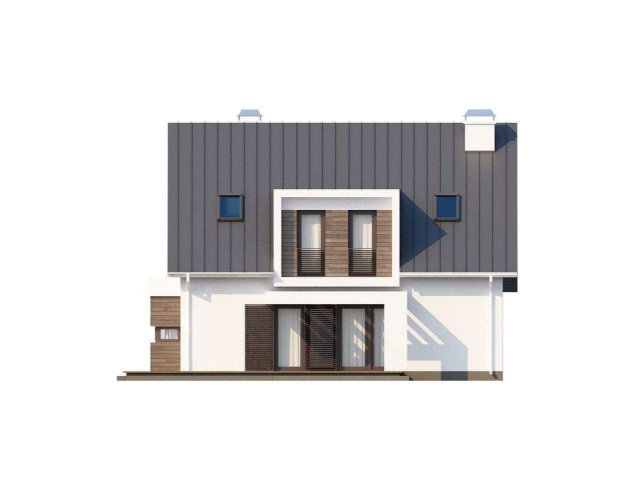 Стильный комфортный дом современного дизайна со встроенным гаражом. 4