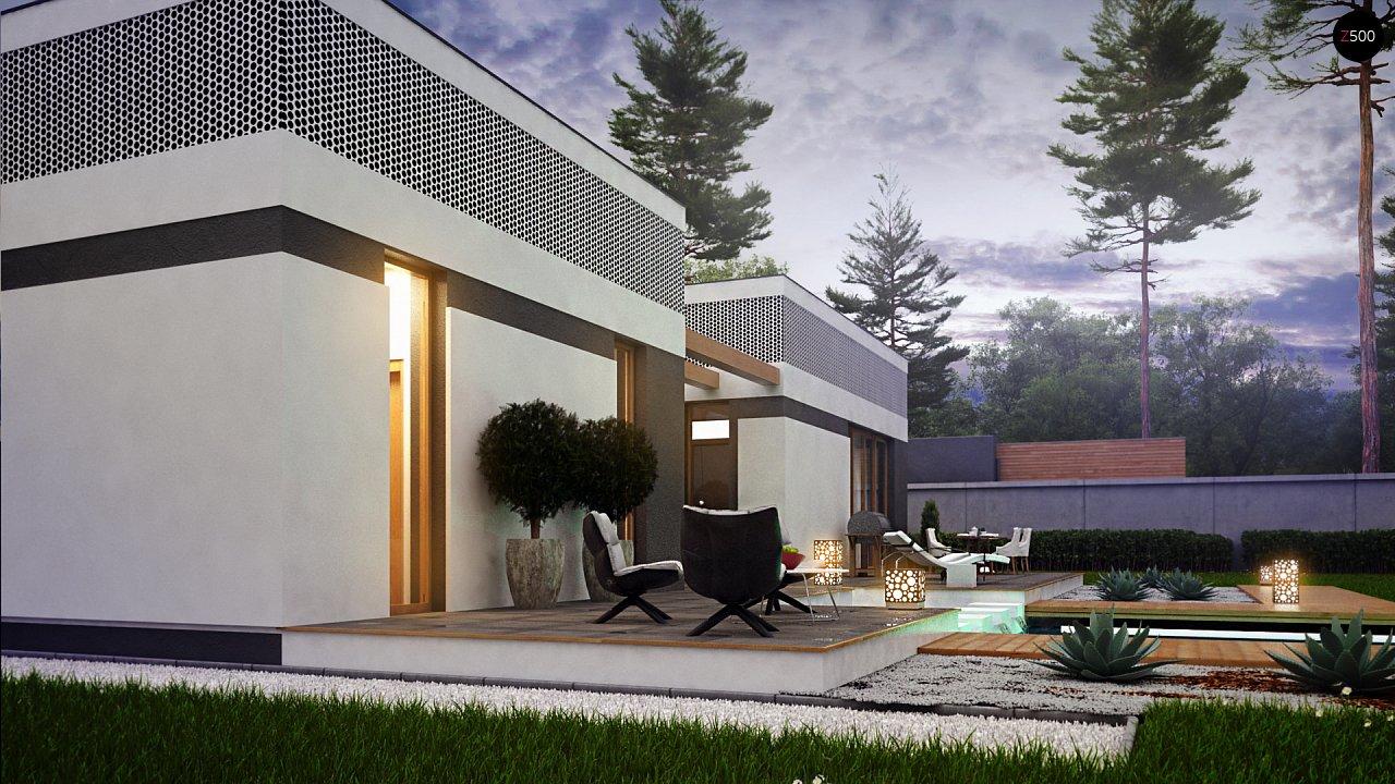 Проект дома в современном стиле с закрытой террасой - фото 6