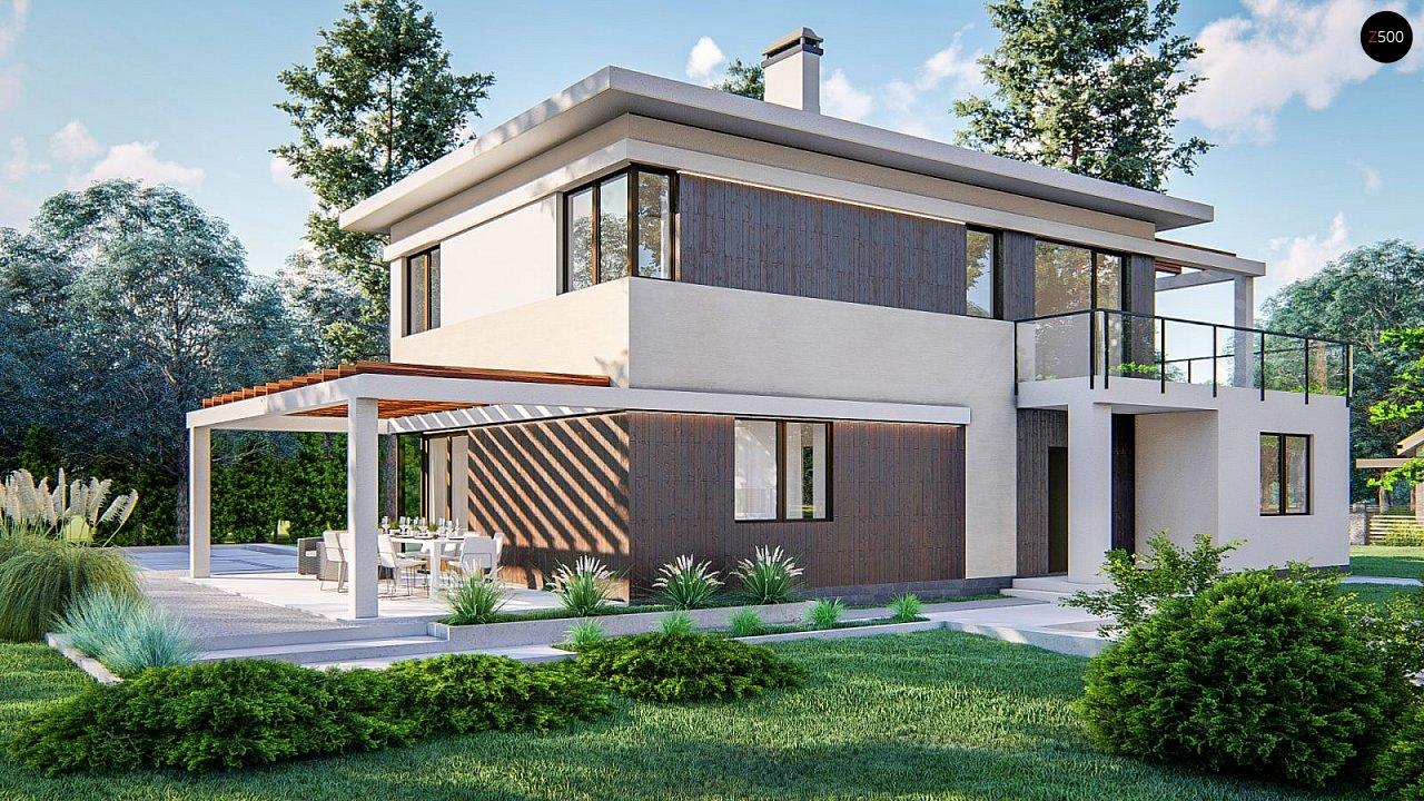 Современный двухэтажный проект дома с навесом - фото 1