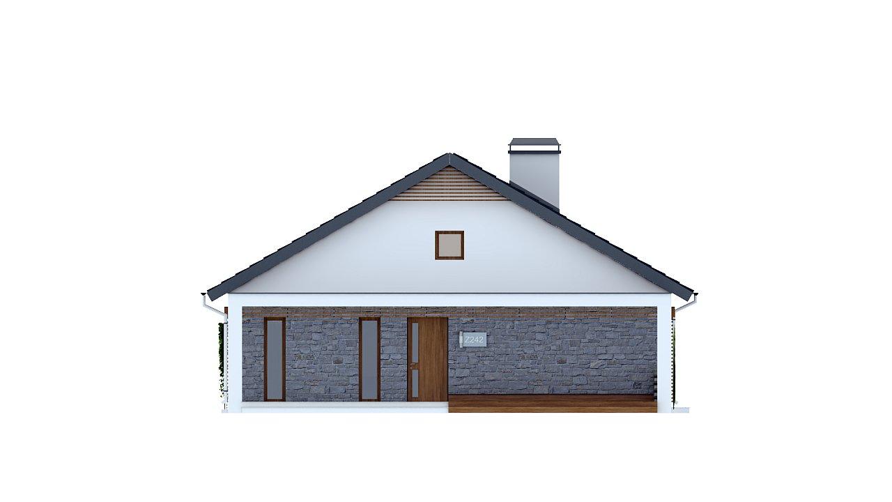 Одноэтажный дом с дополнительной фронтальной террасой. 3