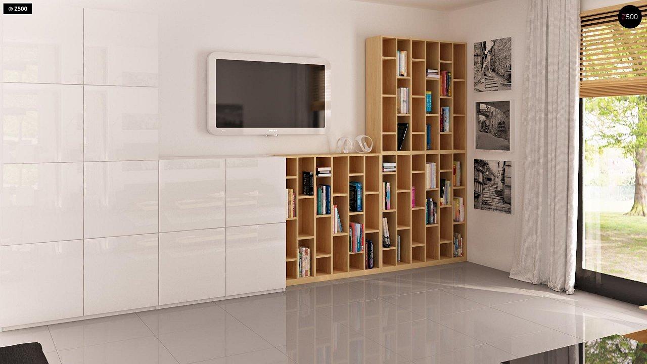 Проект функционального дома с эркером в столовой дополнительной спальней на первом этаже. 5