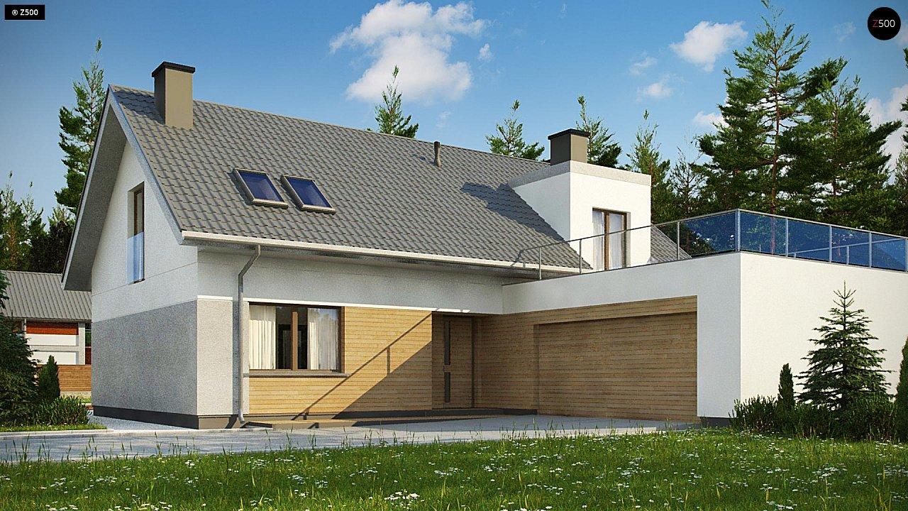 Cтильный мансардный дом с гаражом для двух машин 2