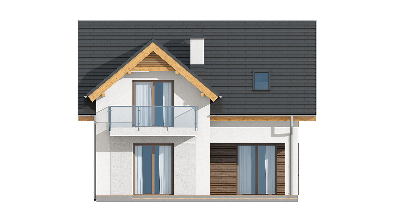 Небольшой стильный и практичный дом с мансардными окнами. - фото 16