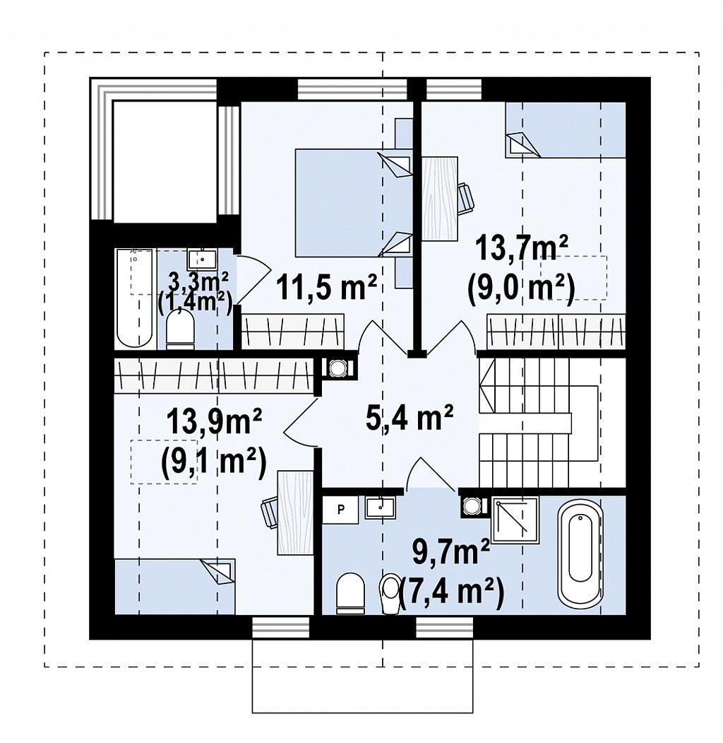 Проект просторного мансардного дома с панорамным остеклением. план помещений 2