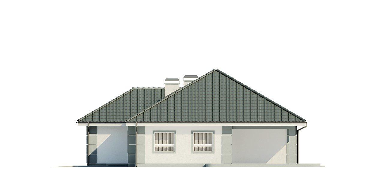 Проект одноэтажного дома с просторной гостиной и гаражом для двух машин. 6