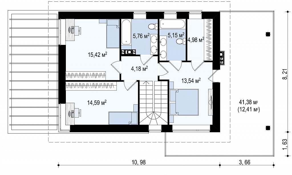 Проект двухэтажного дома Zx63 B + адаптированный под строительство в сейсмических районах план помещений 2