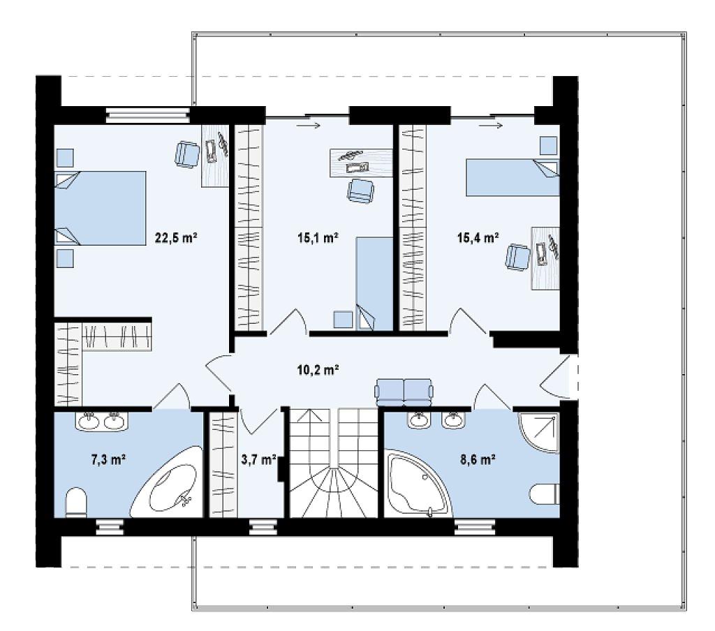 Просторный и комфортный двухэтажный дом с большими окнами. план помещений 2
