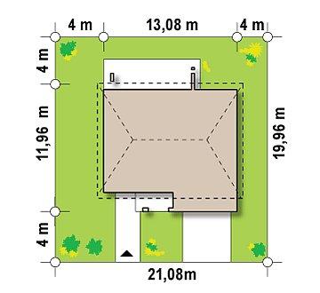 Двухэтажный дом с гаражом для одной машины, с интересным оформлением входной зоны. план помещений 1