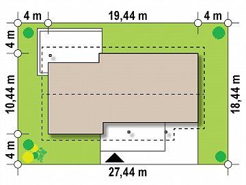 Вариант одноэтажного дома Z176 с гаражом справа на одну машину. план помещений 1