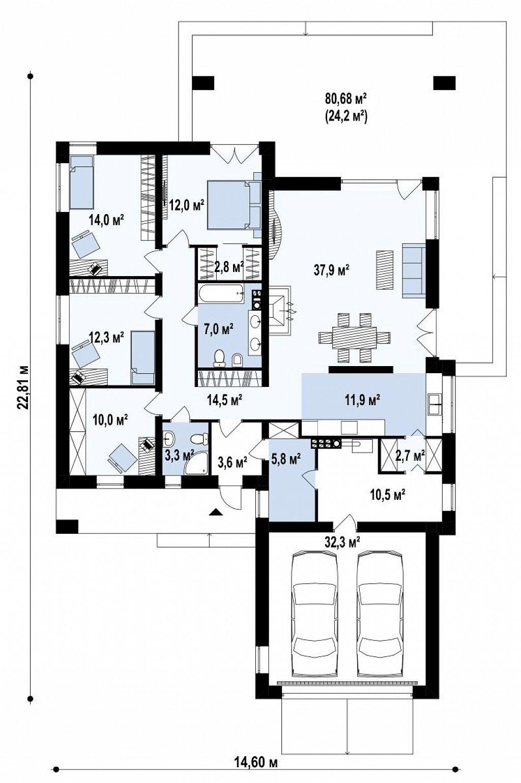 Одноэтажный дом с четырьмя спальнями и гаражом на два автомобиля план помещений 1