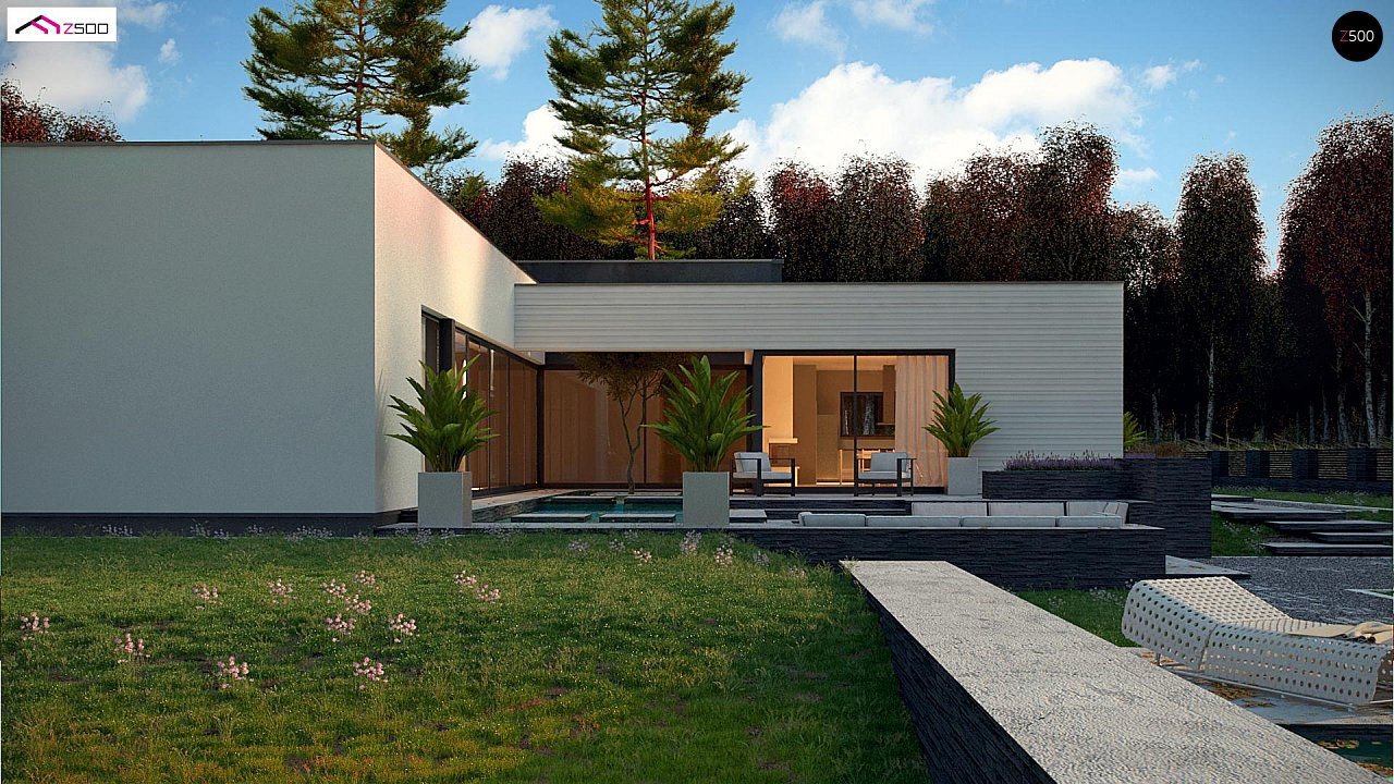Одноэтажный дом в современном стиле с гаражом на 3 машины, с плоской кровлей 3