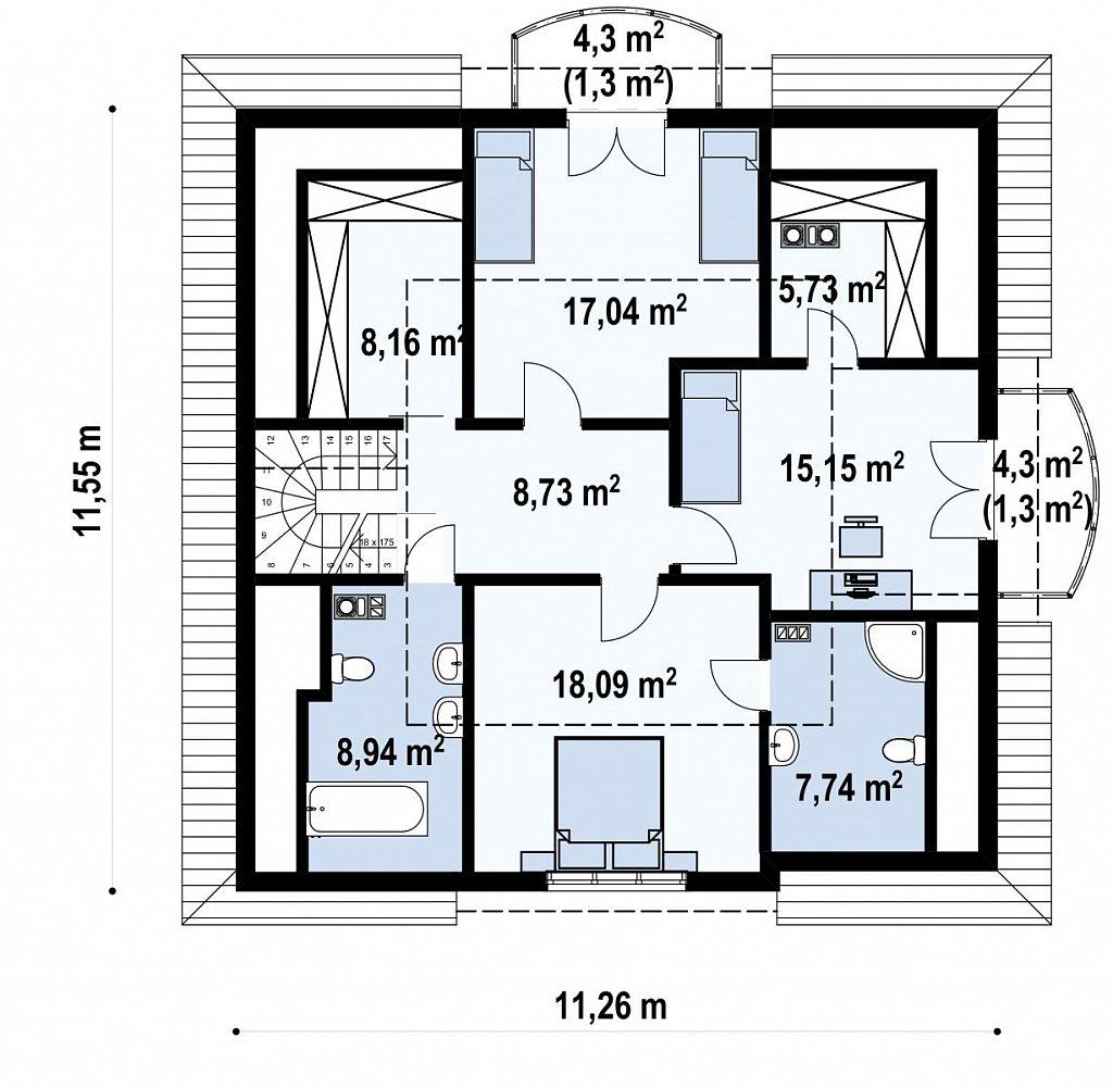 Проект красивого мансардного дома, адаптированный для каркасной технологии план помещений 2