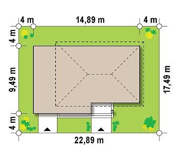 Современный двухэтажный дом простой формы с террасой на втором этаже. план помещений 1