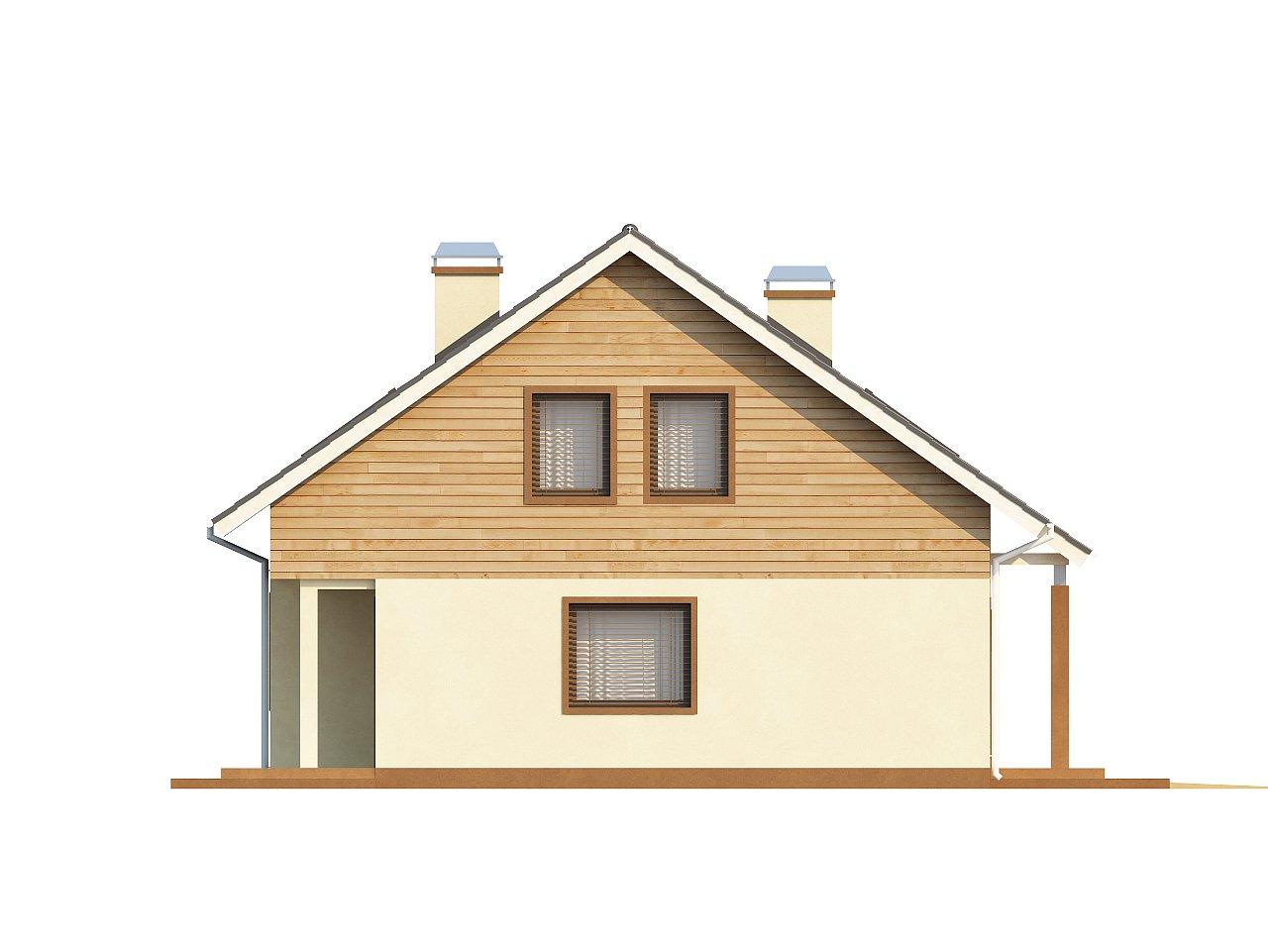 Проект традиционного дома с мансардой, со встроенным гаражом. 6