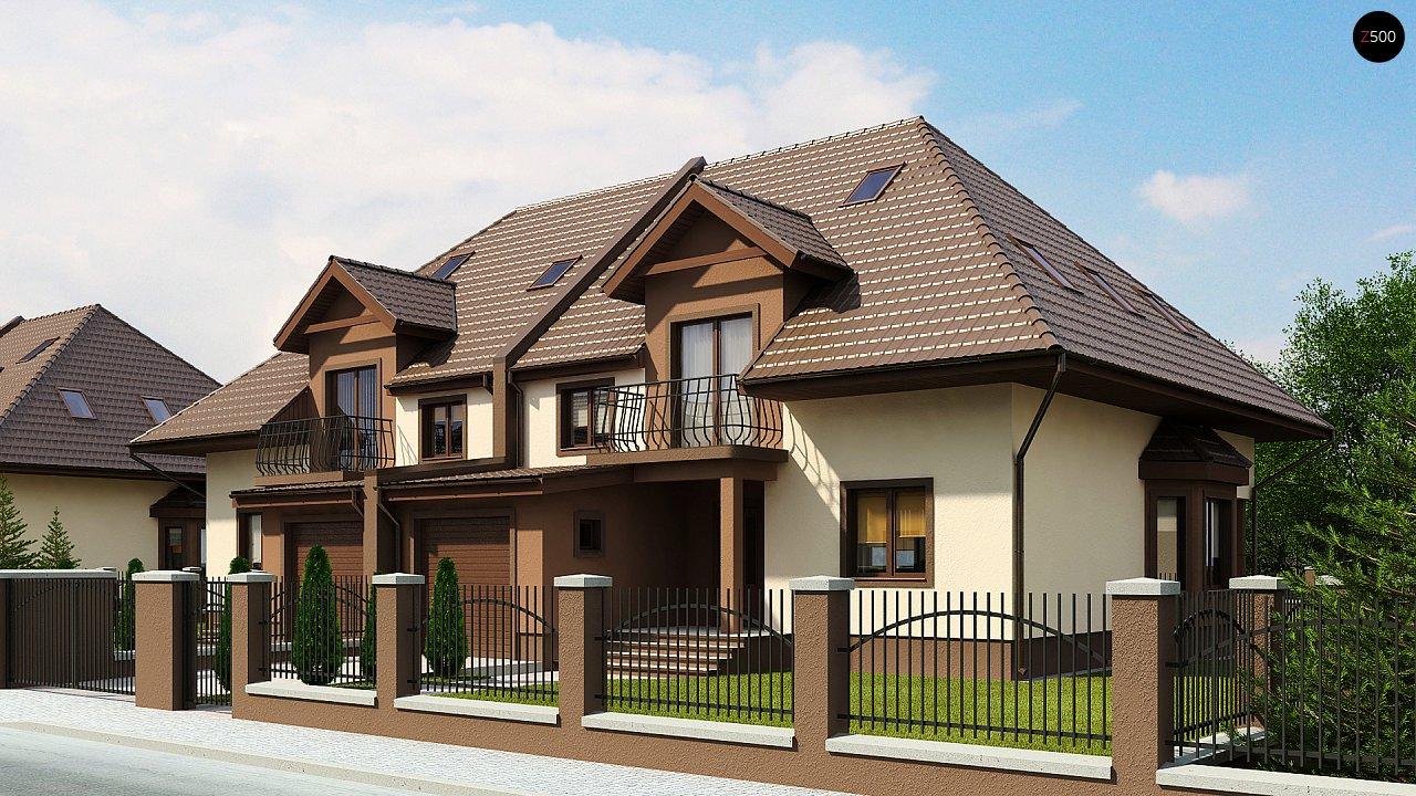 Проект домов близнецов с гаражом и дополнительным помещением на чердаке. 1