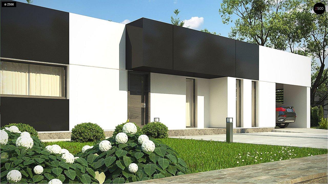 Проект современного одноэтажного дома с черно-белыми фасадами и открытым гаражом на 2 машины 2