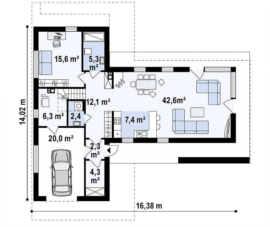 Стильный современный коттедж с плоской кровлей план помещений 1