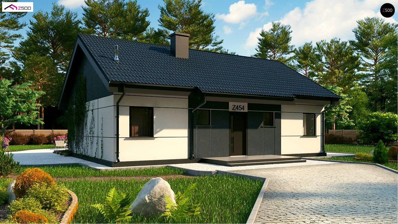 Проект одноэтажного дома традиционной формы с современным экстерьером. 4