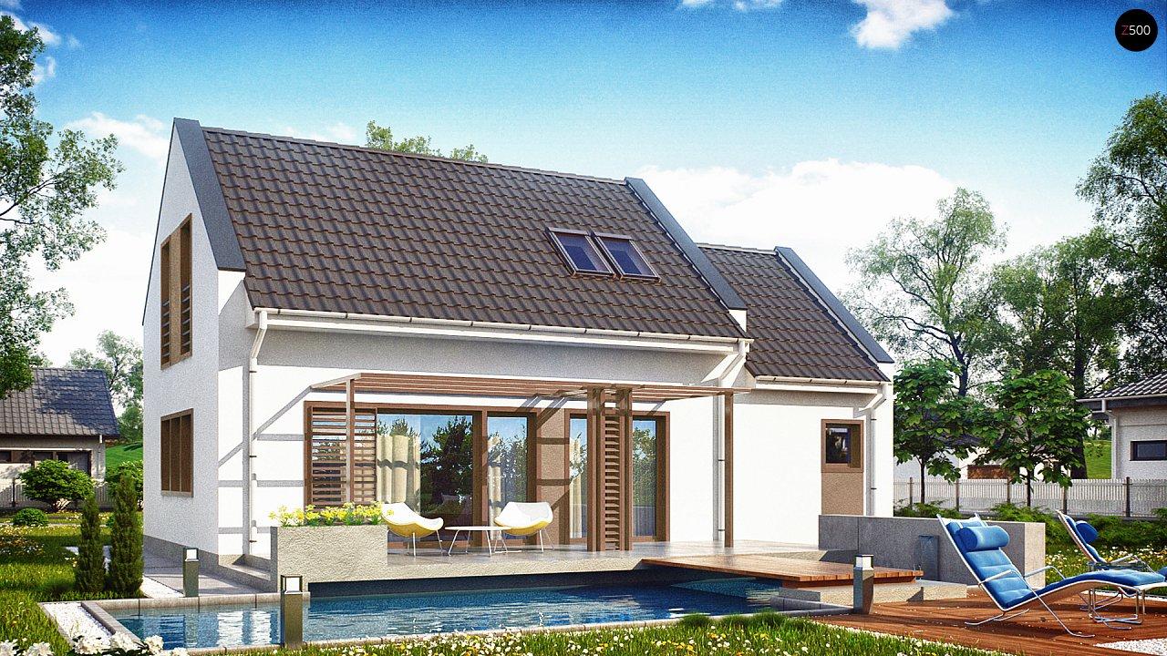 Компактный дом с гаражом для одной машины, с большими окнами в гостиной. 1