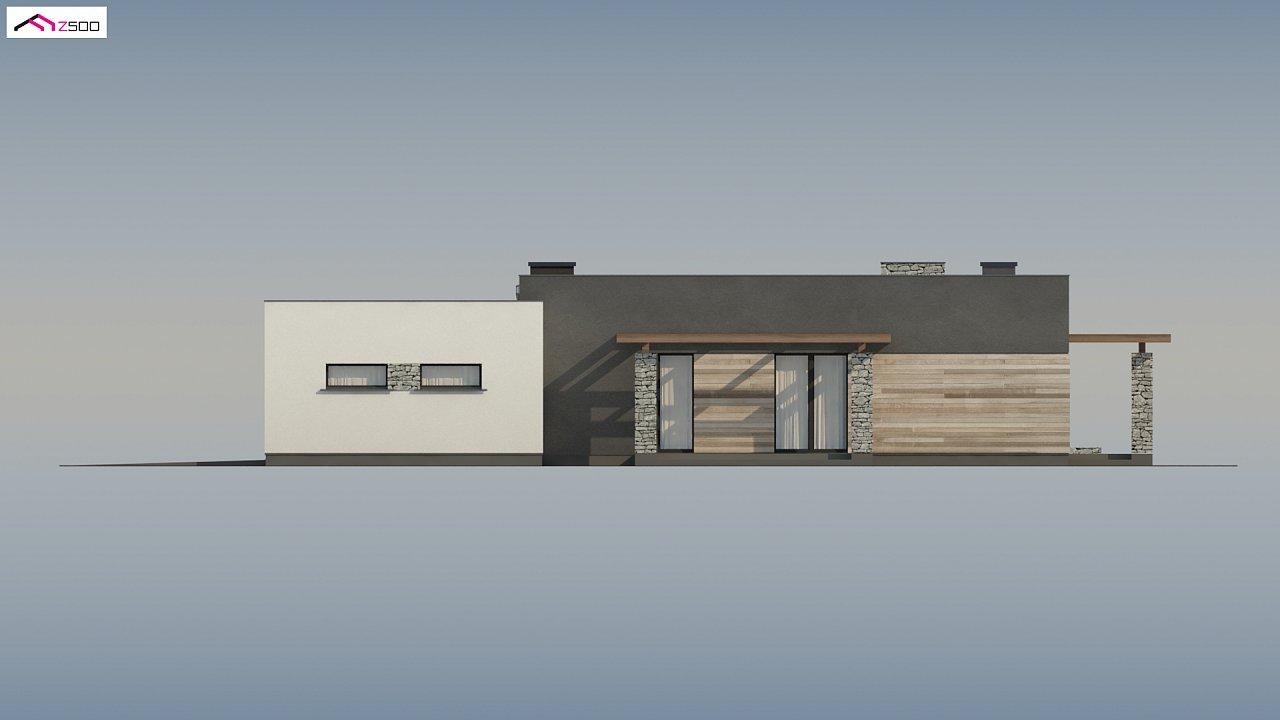 Современный одноэтажный дом с двойным гаражом и плоской крышей 10