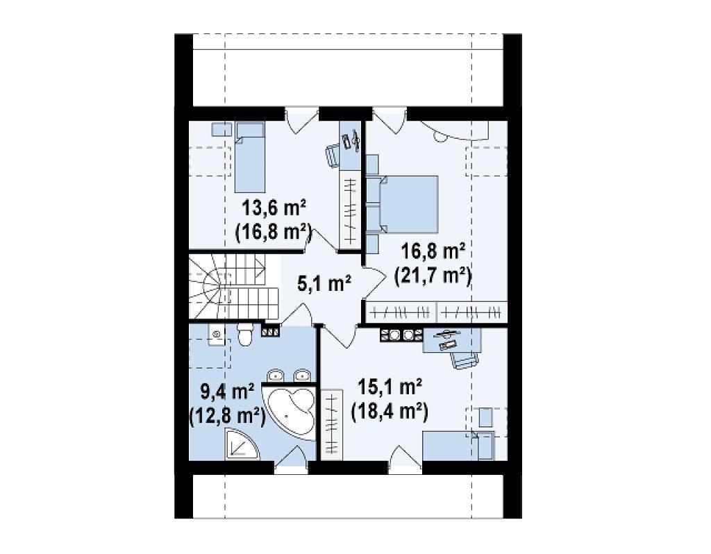 Практичный и уютный дом с модернистскими элементами в архитектуре. план помещений 2