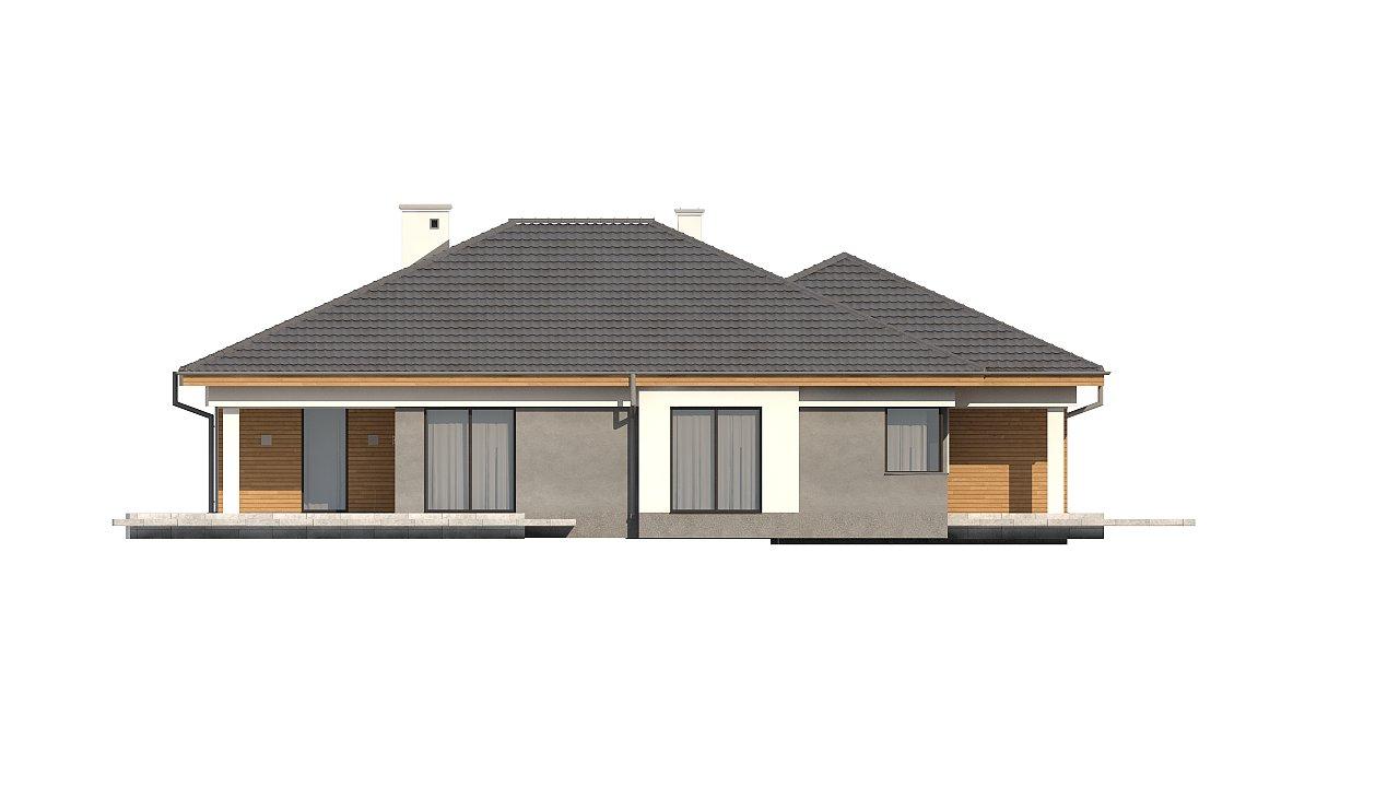 Одноэтажный просторный дом с эркером и крытой террасой. 19