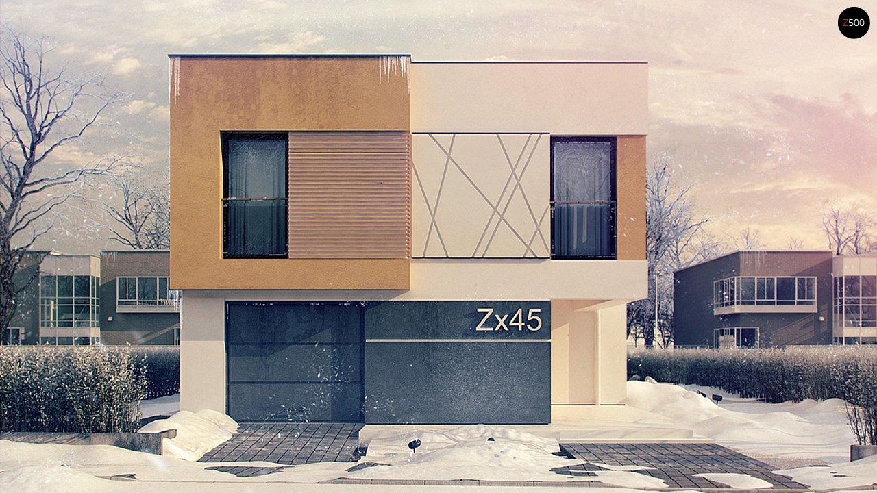 Дом характерного современного дизайна с гаражом и кабинетом на первом этаже. - фото 1
