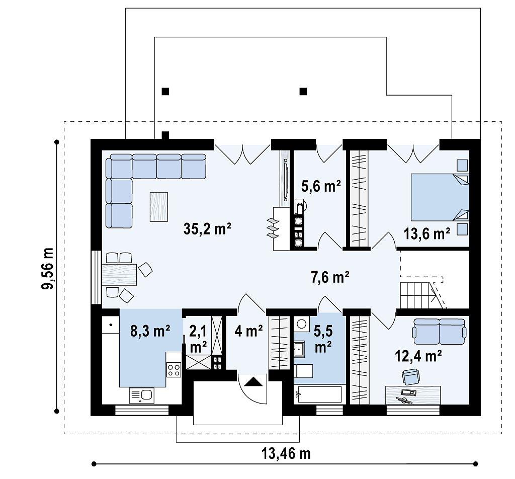 Классический мансардный дом с двускатной кровлей и 5 комнатами. план помещений 1