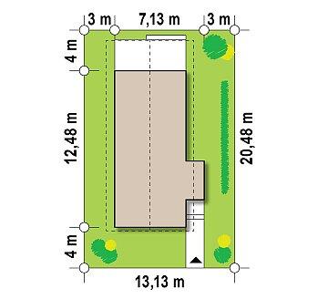 Проект двухэтажного дома для очень узкого участка. план помещений 1