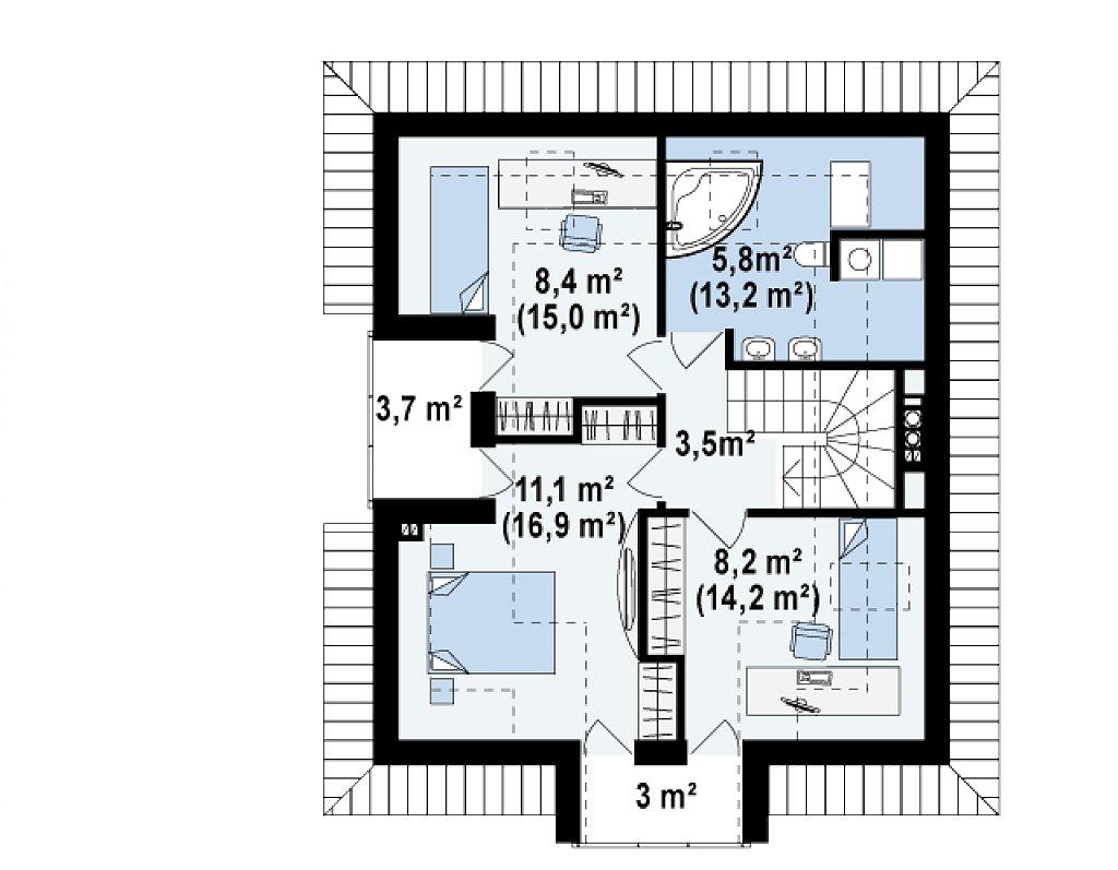 Проект практичного и уютного традиционного дома. план помещений 2